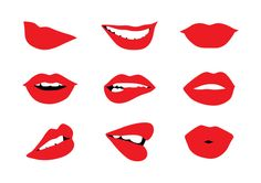 Woman's Lips Set Free Vector