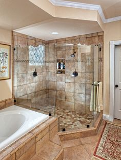 This shower alone has us sold on this amazing bathroom.  #HomeDecor #Bathroom