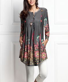 Charcoal Floral Button-Front Side-Pocket Tunic - Plus Too