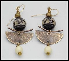 ORIENTAL TREASURE - Handforged Bronze - Restructured Amber - Long Exotic Earrings by sandrawebsterjewelry on Etsy