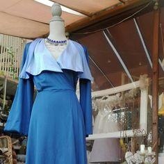 Dressing gown vestaglia fascinosa fantastica donna sensuale blu 70s