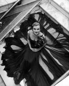 nina leen - model in traina-norell gown, nyc, 1949