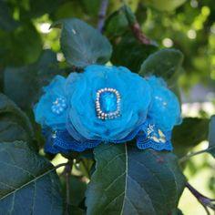 blue hair barette floral hair barette embroidered hair barette blue hair clip blue hair piece blue hair jewelry gift hair blue flowers
