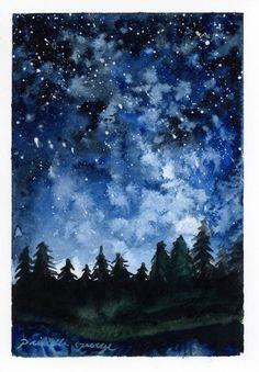 Bosques de la acuarela de la noche de por PriscillaGeorgeArt