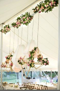 Simply Georgeous Occasions - love these geometric shapes for the overhead decor! And gorgeous florals!  Love!
