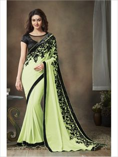 Green Party Wear Georgette Saree