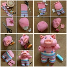 Cute Piggy From Sock .A child may enjoy making this craft because it can be used as a toy when finished.  :)  Step by step --->http://wonderfuldiy.com/wonderful-diy-cute-piggy-from-sock/