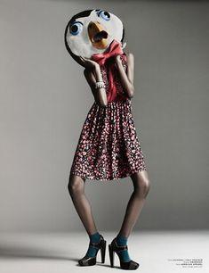 animals, bow, dress, editorial, fashion, floral
