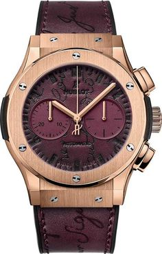 Introducing the new Hublot Classic Fusion Chronograph Berluti Scritto Bordeaux, king gold case, automatic movement with chronograph complication. Berluti Shoes, Hublot Classic Fusion, Hublot Watches, Watch Brands, Bordeaux, Chronograph, Vibrant Colors, Burgundy, Leather
