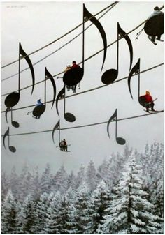 musical notes ski lift. painting by Mihai Criste