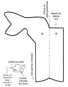 Whale and Jona craft. Mouth opens with brad / split pen. Template