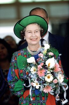 1989 In Malaysia on a royal tour, her Majesty looked fab in this loud print dress. Very 80s. [Photo: Rex]