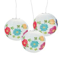 Bright Floral Paper Lanterns - OrientalTrading.com -- Not sure how we would hang these, but they are pretty for our garden party theme.