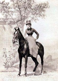 1880s Famous actress Sarah Bernhardt in riding costume.