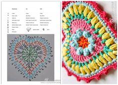 Crochet Heart Patterns ⋆ Page 5 of 8 ⋆ Crochet Kingdom Crochet Butterfly Pattern, Form Crochet, Crochet Diagram, Cute Crochet, Vintage Crochet, Crochet Flowers, Crochet Hearts, Crochet Owls, Crochet Animals