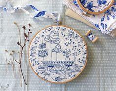 DIY kit Blue wall art Sea blue Hand embroidery by TamarNahirYanai