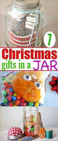 7 Christmas Gifts in a Jar.  Cool gifts for all ages!  Christmas Gifts for kids, teens and adults.