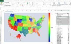 USA Counties, Bundesstaaten in Amerika als Heatmap, Bevölkerungsdichte für Excel Individuelle US Karte in KPI-Dashboards und Managementreporting