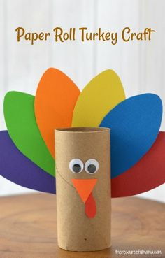 This Paper Roll Turkey Craft is a fun Thanksgiving craft for kids that reuses your paper rolls and a few other simple craft supplies. #kidcraft #thanksgiving Thanksgiving craft, toilet paper roll craft