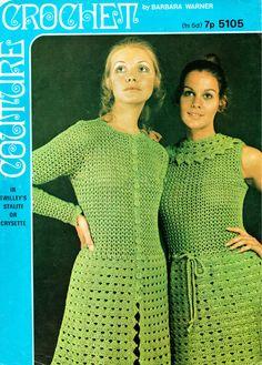 Barbara Warner 5105 - ladies dress and matching coat - vintage crochet pattern Crochet Coat, Crochet Clothes, Crochet Lace, Crochet Summer, Summer Wear For Ladies, Dress Patterns, Crochet Patterns, Vintage Crochet Dresses, Vintage Knitting