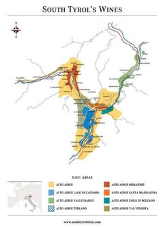 Detailed map of Alto Adige/ Sudtirol wine map #Italy #wine