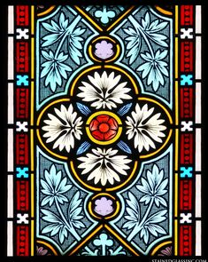 Ornate design of leaves, flowers and a patterned border, in white, red, aqua, yellow and black.