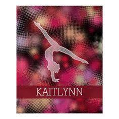 Halftone Gymnast Custom Name Poster #gymnastics