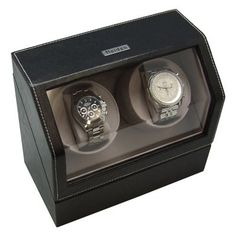 Heiden Battery Powered Double Watch Winder in Black Leather - http://www.specialdaysgift.com/heiden-battery-powered-double-watch-winder-in-black-leather/