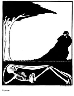 life and death - the living and the dead yin and yang /// Aubrey Beardsley - Gailestis (1895)