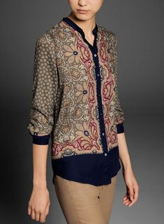 Khaki Stand Collar Long Sleeve Floral Blouse US$30.66