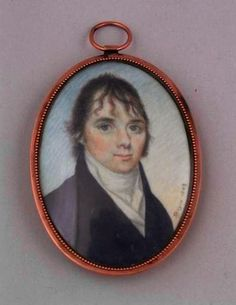 """William M. S. Doyle (1769-1828) Date 1803,  Self-Portrait, Watercolor on ivory, 2 1/8 x 1 1/2 in. Signed: at right: """"Doyle 1803"""" - This miniature was identified as the artist's self-portrait when it was auctioned at Parke-Bernet Galleries in 1950. The Metropolitan Museum of Art, however, has in its collection a miniature acquired as a self-portrait & signed """"Doyle 1801,"""" in which the subject looks very different."""