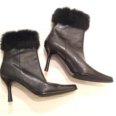 """Valerie Stevens Black Boots with Rabbit Fur Trim So cute and in al out new condition. I don't think they have walked in anything but carpet! The inside where the lane is is torn a little because of a sticker tag. They are """"Val flex"""" size8.5 med Valerie Stevens Shoes Ankle Boots & Booties"""