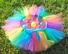 Diy easter basket with tulle and flowers kids pinterest rainbow tutu easter basket easter ideas 2 pinterest negle Gallery