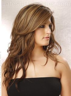 highlights for long straight hair | This style accentuates the curl and wave of the hair with all of its ...