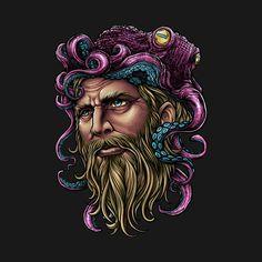 Winya No. 150-2 - Octopus - T-Shirt | TeePublic Ringer Tee, Printed Shirts, V Neck T Shirt, Shirt Designs, Portrait, Tank Tops, Octopus, Drawings, Long Sleeve