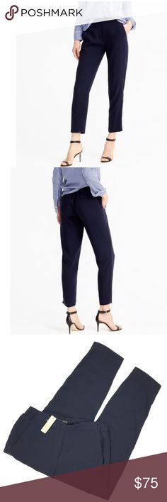 """J. Crew Easy Pant Polyester J. Crew """"Easy"""" Pant with a fit that's both casual and easy to dress up. It features a waistband made of partial elastic. Inseam of 26"""". New (with tags!) in a size 4. So chic! Retail $110. J. Crew Pants"""