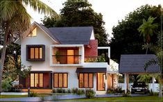 Searching for 3 bedroom house plan 1950 sq ft 3 bed room residence ? then here is a modern villa conceptual idea of a below 1950 sq ft 3 bed room residence . Indian Home Design, Kerala House Design, Indian House Exterior Design, Minimal House Design, Bungalow House Design, Small House Design, Bungalow Designs, Best Modern House Design, Duplex Design