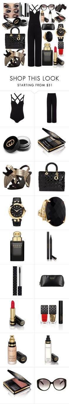 Outfit #130 by sofi6277 on Polyvore featuring Miss Selfridge, Pink Tartan, Salvatore Ferragamo, Christian Dior, Versace, Gucci and Bobbi Brown Cosmetics