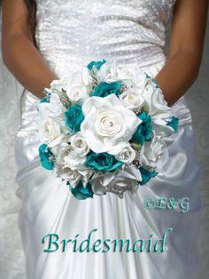 All Roses Bridal Bouquet BEAUTIFUL ANGELINA (MERMAID/jade/turquoise). $398.00, via Etsy.