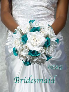 All Roses Bridal Bouquet  BEAUTIFUL ANGELINA (MERMAID/jade/turquoise). $398.00, via Etsy.