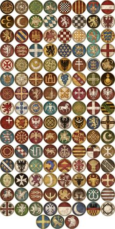 Starting and Emergent Faction Icons image - Medieval Kingdoms Total War (Attila Version) mod for Total War: Attila - Mod DB Fantasy Map, Medieval Fantasy, Escudo Viking, Total War Attila, Viking Shield, Armadura Medieval, Knights Templar, Family Crest, Coat Of Arms