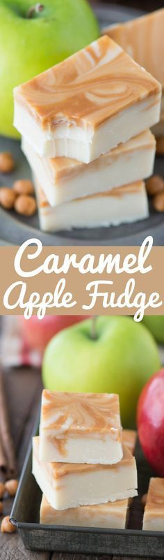 One of the best fall treats - homemade caramel apple fudge! This fudge reminds me of those green caramel apple suckers! SO good!