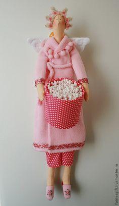 Купить Тильда Хранительница ватных палочек - бледно-розовый, декор ванной, ванная комната, ванная