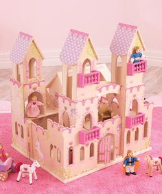 Another great find on Princess Castle Dollhouse by KidKraft Includes dollhouse, four wooden dolls and 14 accessories Medium-density fiberboard / plastic Assembly required Recommended for ages 3 years and up. Castle Dollhouse, Toy Castle, Wooden Castle, Princess Castle, Wooden Dolls, Queen, Pretend Play, Dollhouse Furniture, Kids Furniture