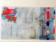 Decoupage, tegning, sailor, sømand, Skipper Skræk, lak, tatoo, mor... Kristina Borregaard Hall. Kriskrea.