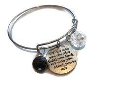 Inspirational Quote Bangle Bracelet | Essential Oil Bracelet | Bangle Charm Bracelet | Lava Rock Diffuser Bracelet | Aromatherapy Jewelry