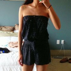 Navy Polka Dot Romper  Stunning navy polka for romper with button detailing down the front. Tube top with smocked waist. Perfect condition. Dresses Strapless