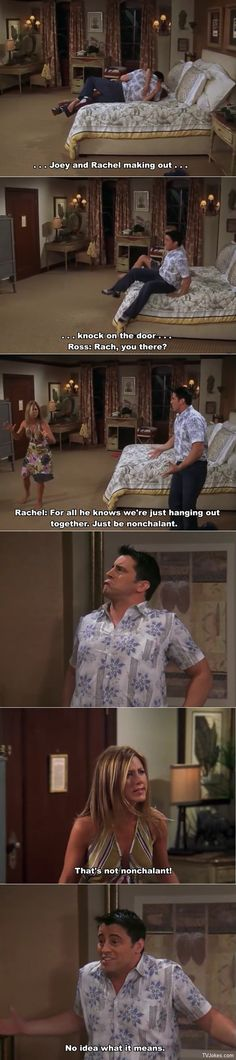 Joey and Rachel making out in Barbados. Friends Moments, Joey Friends, Funny Moments, Friends Show, Friends Forever, Best Friends, Friends Joey And Rachel, Ross And Rachel, I Love My Friends