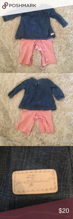 7 for all of man kind Denim dress with pink leggings onesies 3/6mo runs small 7 For All Mankind One Pieces Bodysuits