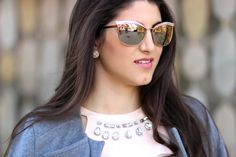 Awaiting Spring   Laura Lily wearing embellished mirrored cat eye sunglasses by Kate Spade